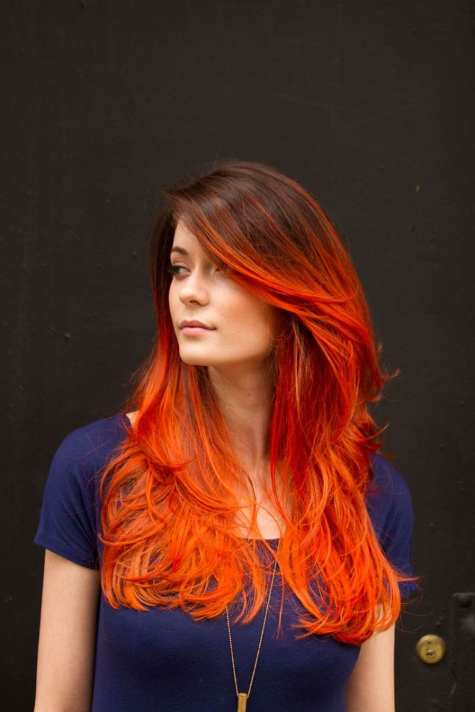 17 hair color ideas for bright red hair brilliant red hair with black highlights pmusecretfo Choice Image
